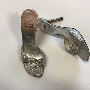 Stuart Weitzman silver sparkly slip on hills